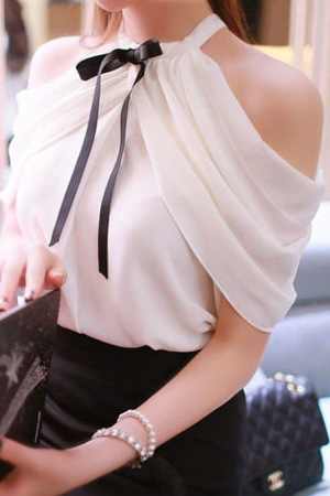Solid Color Off-Shoulder Women's Chiffon Blouse