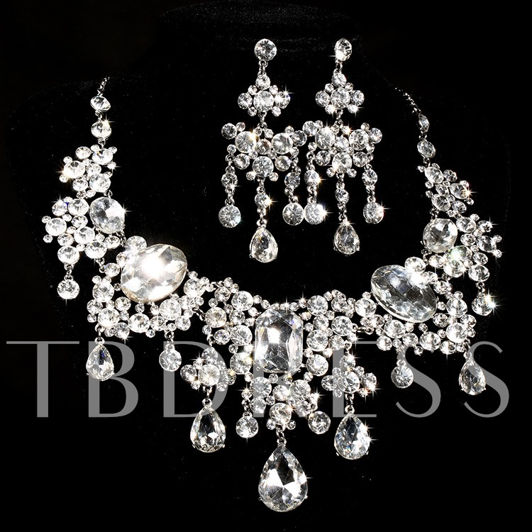 Image of Alloy with Rhinestone Bridal Jewelry Set (Including Necklace and Earrings)