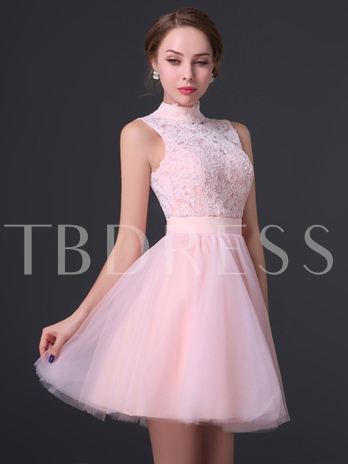 High Neck Appliques A-Line Mini Homecoming Dress