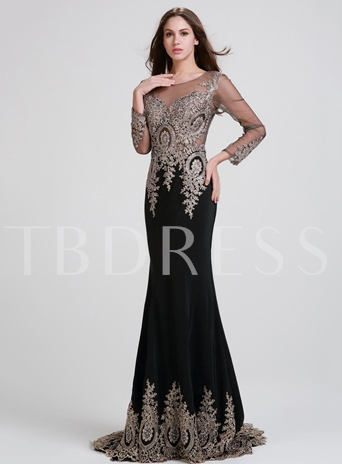 Long Sleeve Appliques Sheer Neck Mermaid Evening Dress