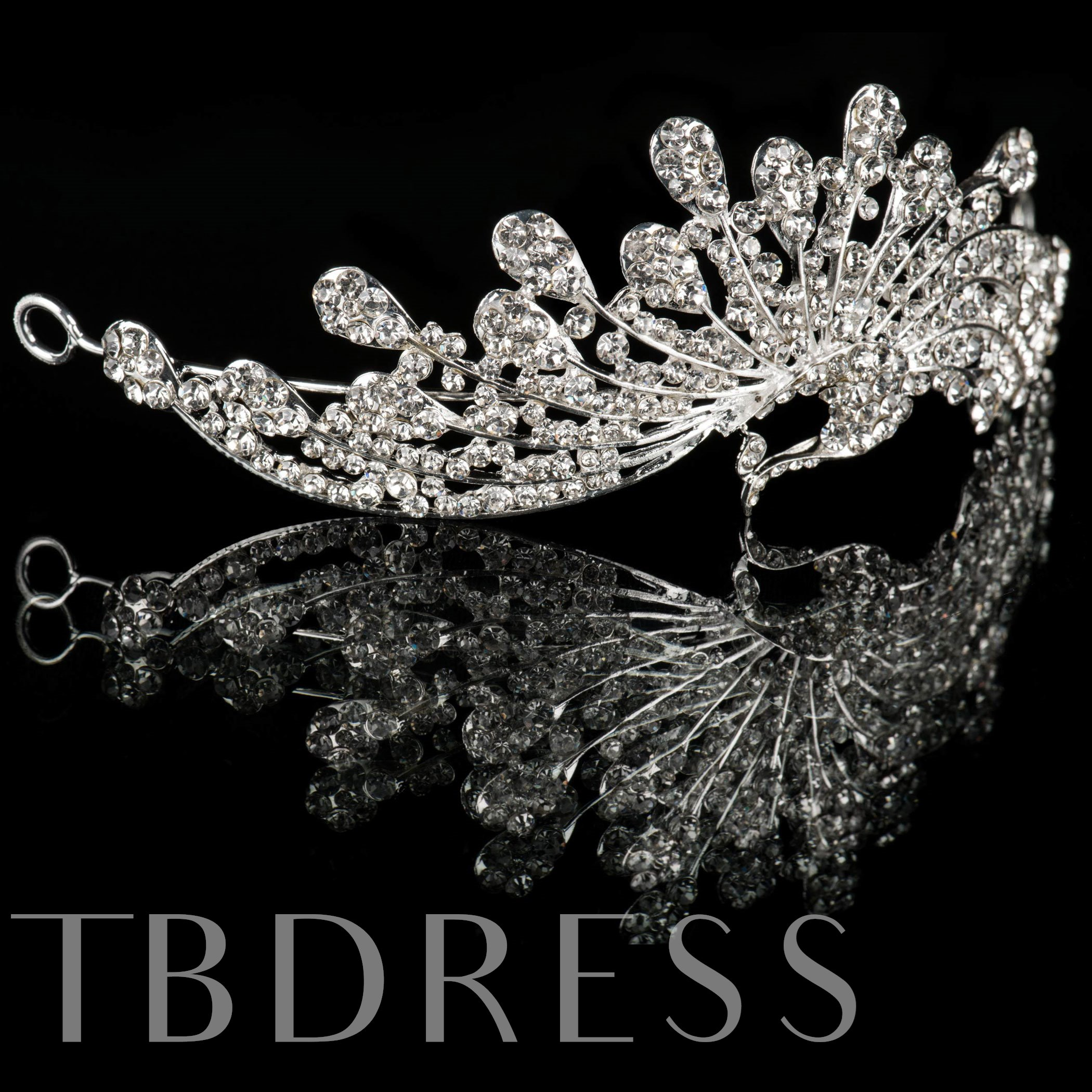 Celebrity Alloy with Peacock Shaped Rhinestone Wedding Bridal Tiara