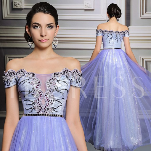 Off-the-Shoulder Sashes A-Line Appliques Beadings Sequins Evening Dress