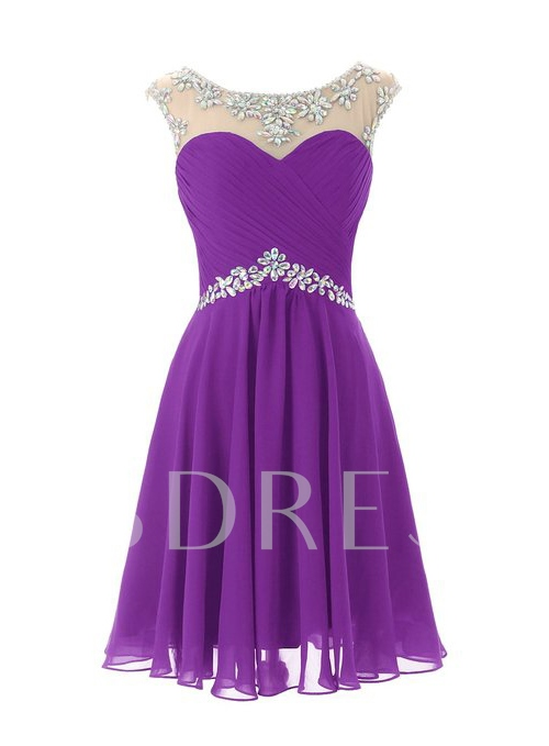 Cap Sleeves A-Line Scoop Neck Beadings Short Homecoming Dress