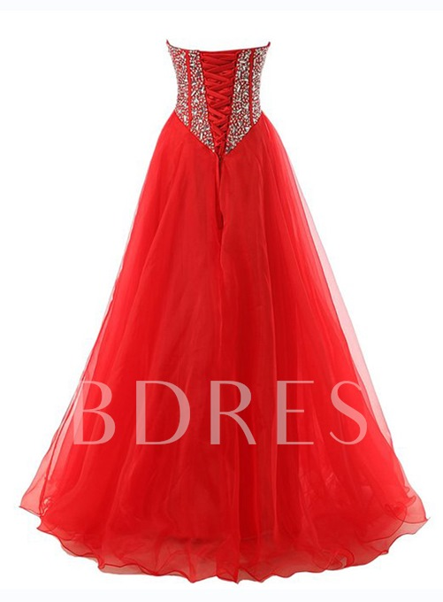 A-Line Sweetheart Beaded Long Prom Dress