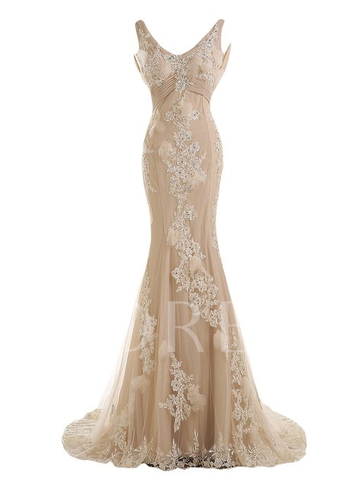 Straps Ruched Mermaid Appliques Beaded Court Train Evening Dress