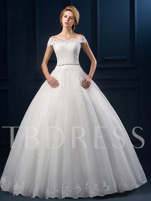 Appliques Off the Shoulder Ball Gown Wedding Dress