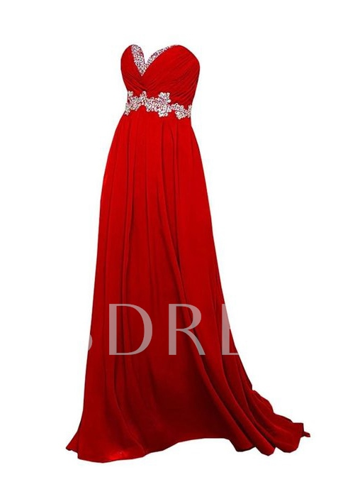 V-Neck Rhinestone A-Line Floor-Length Prom Dress
