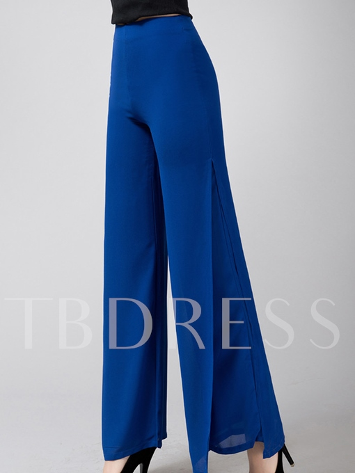 Candy Color Chiffon Placketing OL Women's Pants