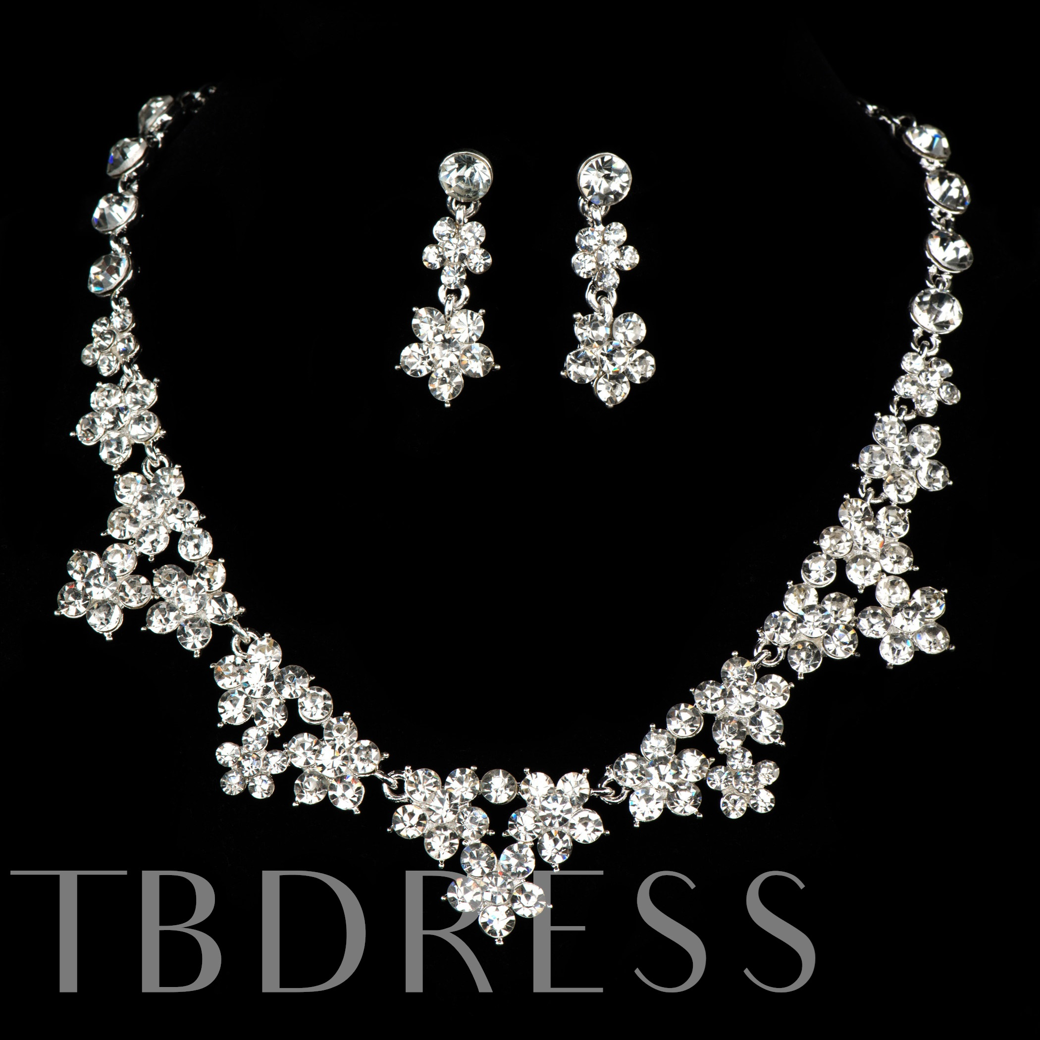 Alloy with Sparkling Rhinestone Flowers Wedding Jewelry Set