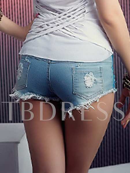 Color Printing Low Waist Jean Women's Shorts