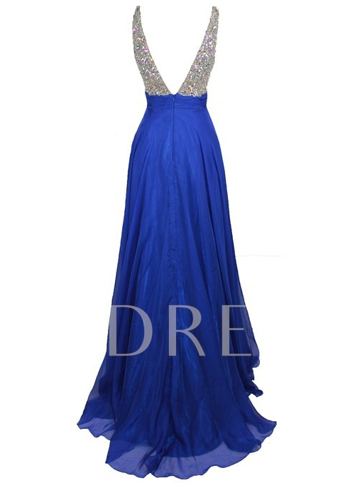 Deep V-Neck Beadings A-line Prom Dress