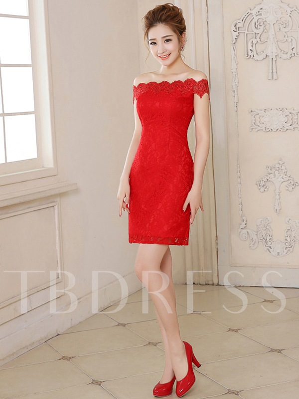 Off-the-shoulder Lace Sheath Cocktail Dress