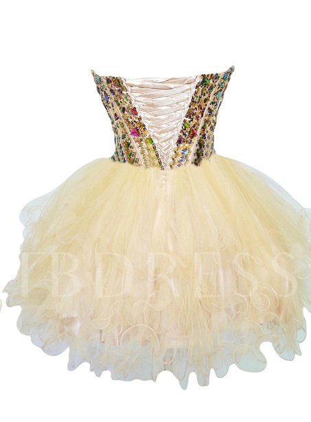 Sweetheart Ball Gown Rhinestone Beadings Mini Homecoming Dress