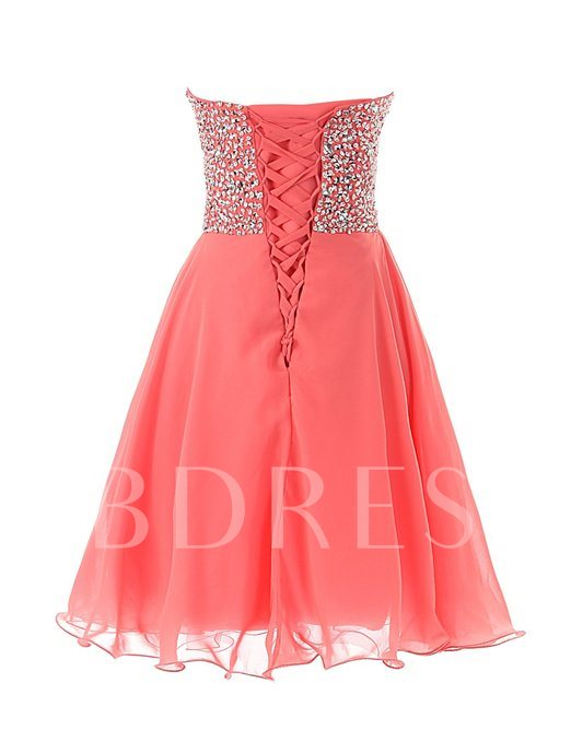 Sweetheart Lace-Up Beading Cocktail Dress