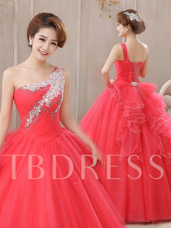 One-Shoulder Ball Gown Beadings Floor-Length Quinceanera Dress