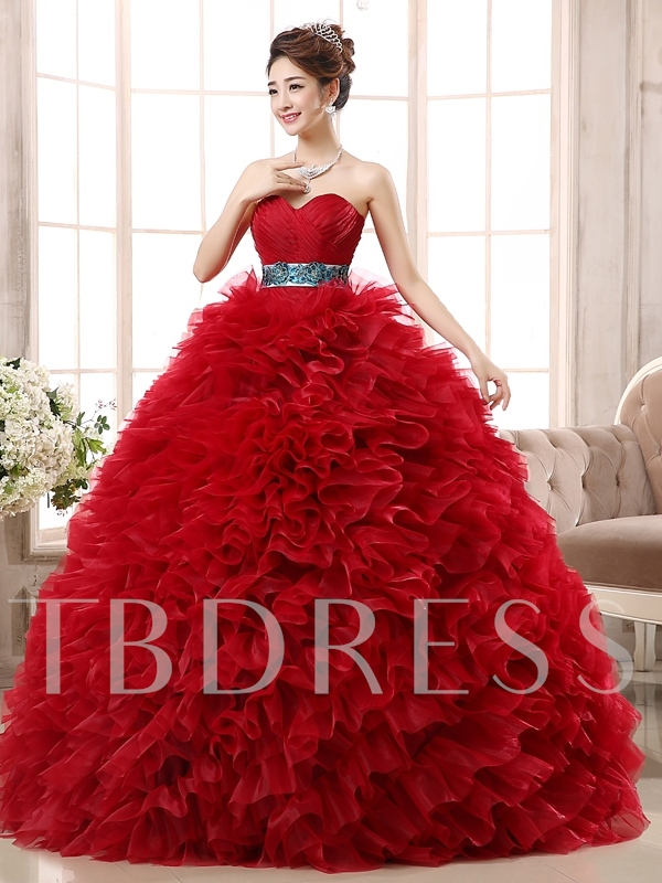 Embroidery Sweetheart Pleats Ball Gown Appliques Quinceanera Dress