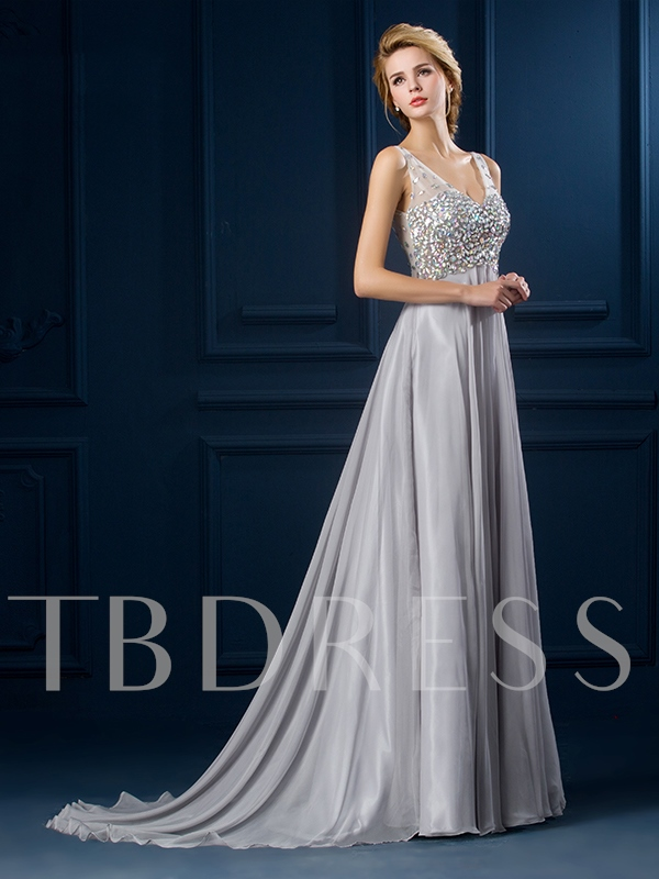 Rhinestone V-Neck A-Line Evening Dress
