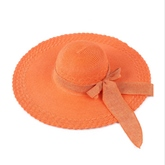 Solid Bow Wide Trim Beach Sun Hat
