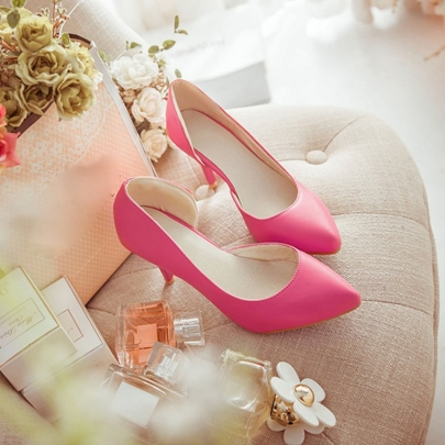 Pointed Toe Heel Cover Women's Pumps (Plus Size Available)