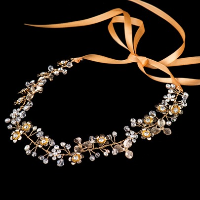 Champagne Floral Alloy with Beaded Leaf Shaped Wedding Bridal Headband