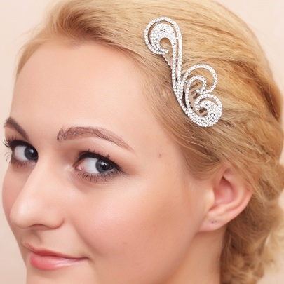 Curly Rhinestone Wedding Bridal Comb