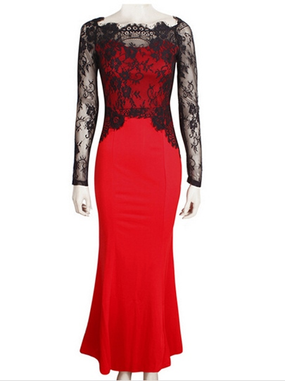 Red Long Sleeve Patchwork Women's Lace Dress