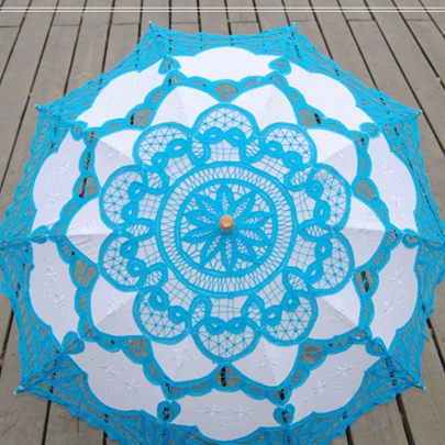 Sky Blue Lace Handmade Wedding Umbrella