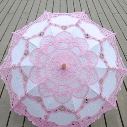 Pink Lace Wedding Umbrella