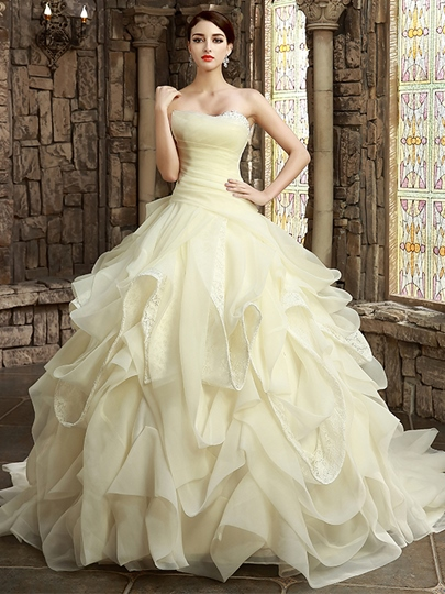 Ball Gown Ruffles Strapless Tiered Lace Beaded Wedding Dress