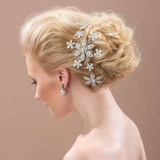 Rhinestone Bridal Hair Flowers Lady`s Hair Clips