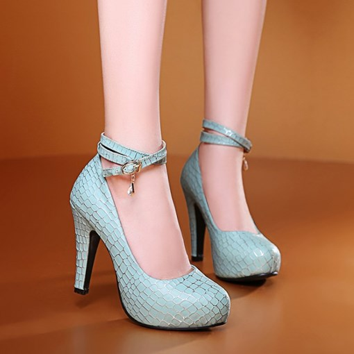 Ankle Buckle Round Toe Women's Pumps