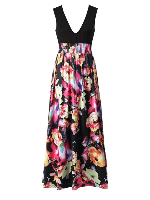 V Neck Sleeveless Print Women's Maxi Dress