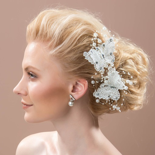 Butterfly Shaped Lace Pearls Beads Wedding Hair Flower