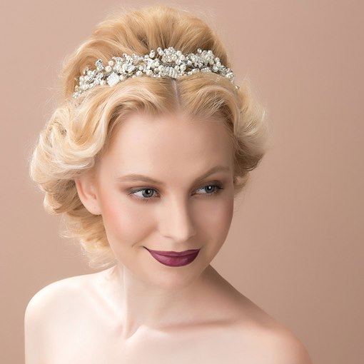 Flower Alloy with Rhinestone&Pearls Wedding Bridal Tiara