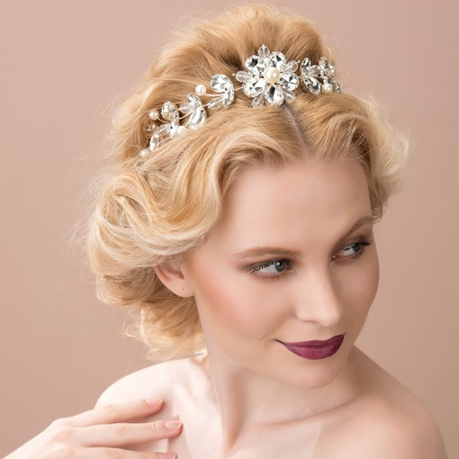 Beads Pearls Rhinestone Wedding Bridal Headband & Tiara