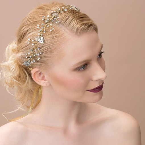 Leaf Shaped Alloy with Beading Wedding Bridal Headband
