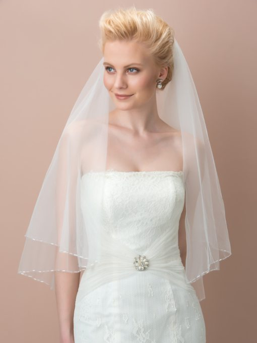 Beaded Edge Tulle Elbow Wedding Veil