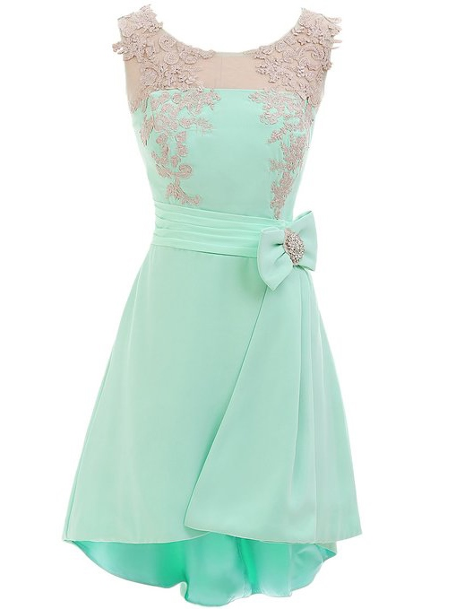 Scoop Neck Bowknot Appliques Mint Homecoming Dress
