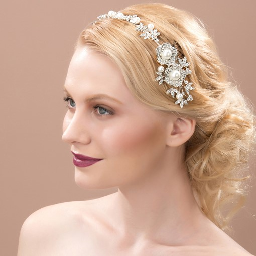 Flowers Rhinestone Pearls Wedding Bridal Comb & Headband