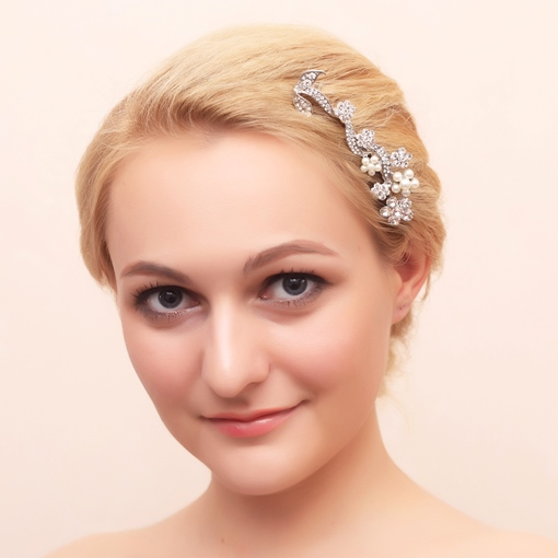 Clear Rhinestone and Pearls Wedding Bridal Comb