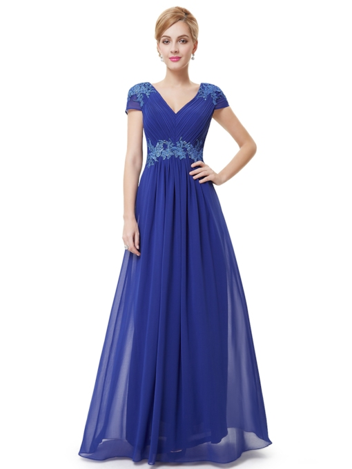 Ruched V-Neck Appliques Floor-Length Evening Dress