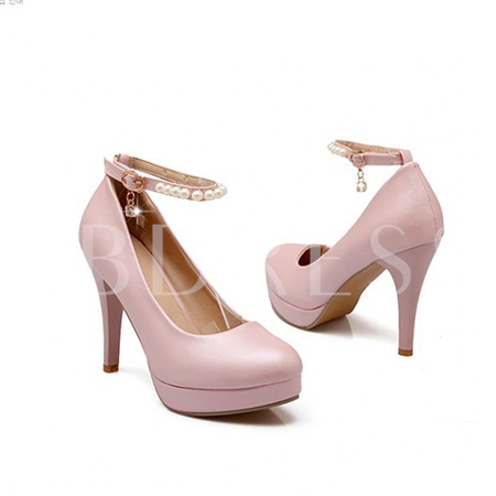 Beading Round Toe Women's Pumps