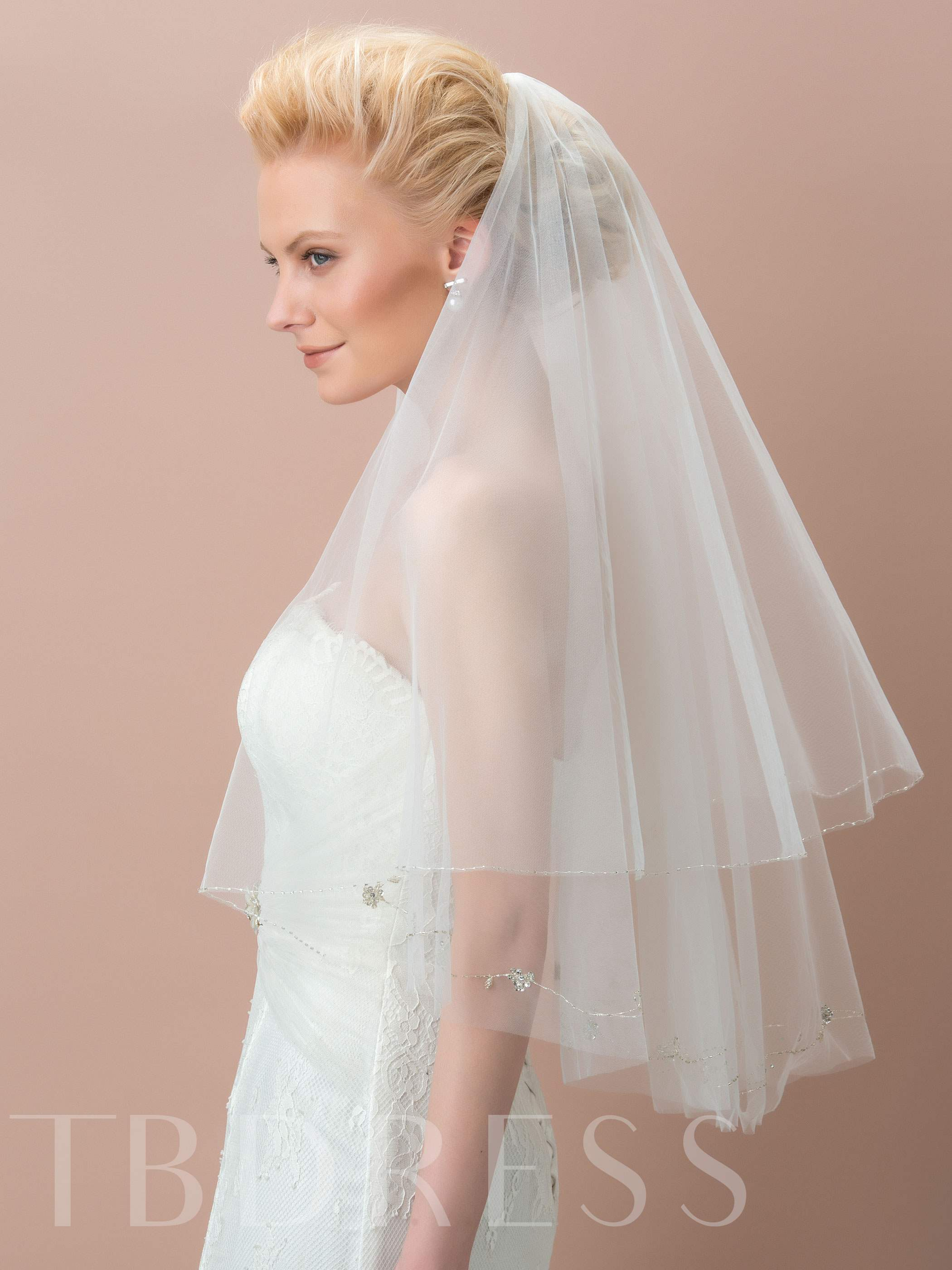 Two-Layer Tulle Beaded Elbow Edge Bridal Veil
