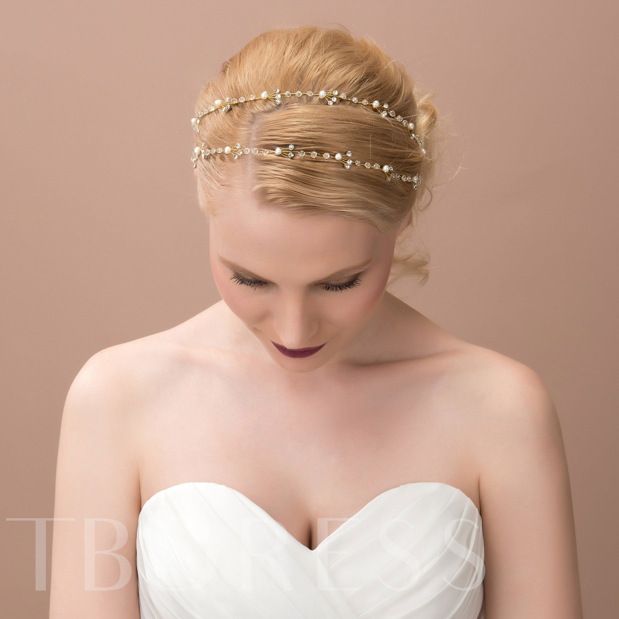 Alloy with Beaded Rhinestone Wedding Bridal Headband