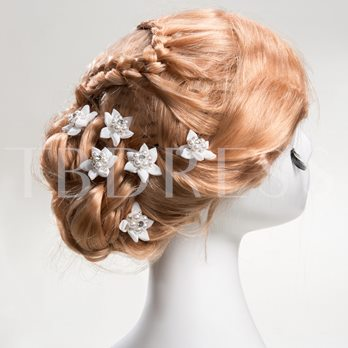 Flower Shaped Alloy with Pearl Bridal Hairpins