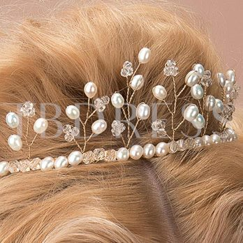 New Alloy with Beads&Pearls Wedding Bridal Tiara