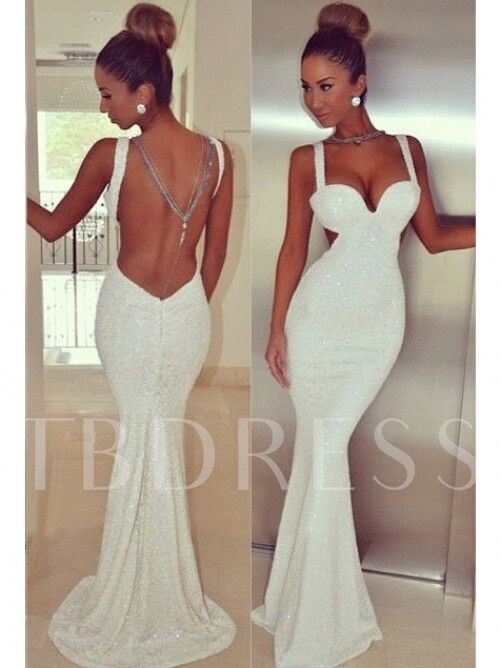 Mermaid Backless Straps Lace Sequins Court Train Evening Dress