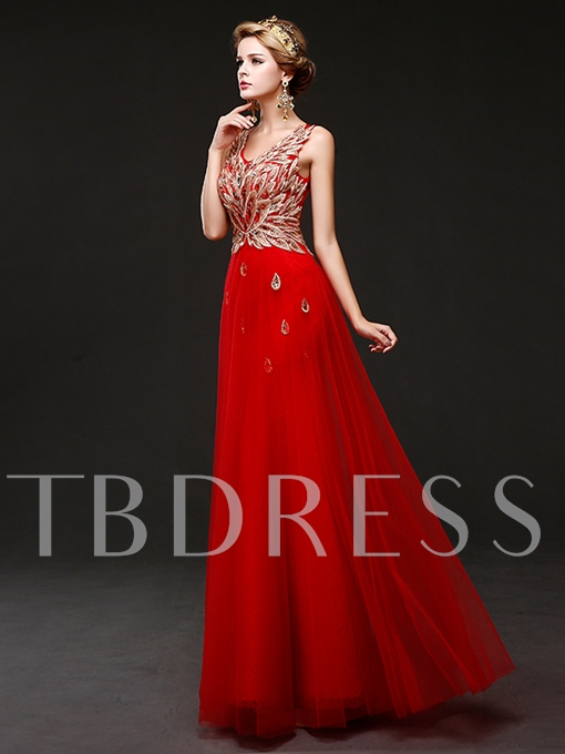A-Line Appliques V-Neck Lace-Up Floor-Length Evening Dress