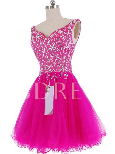V-Neck Beadings A-Line Short Homecoming Dress
