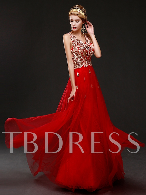 Appliques V-Neck Lace-Up Red Evening Dress